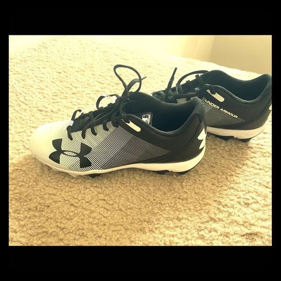 new UNDER ARMOUR men/'s LEADOFF RM Baseball Cleats sz 7.5 or 8.5 black blue shoes